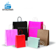 Plain Manufacturer Recycle Colorful Shopping Kraft Paper Bag