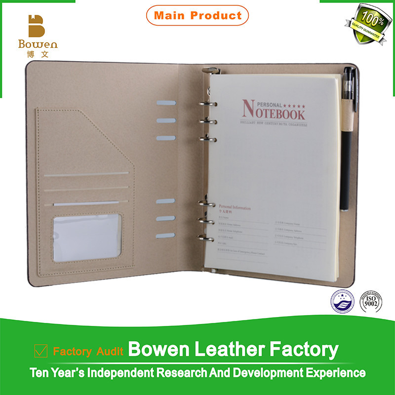 laptop writing brown men's business leather portfolio with portable portfolio