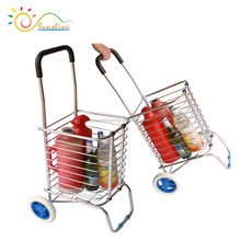 Supermarket Foldable Aluminium Trolley Cart Shopping Basket with 3 Wheels