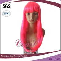 Long hot pink medium pink straight party wigs