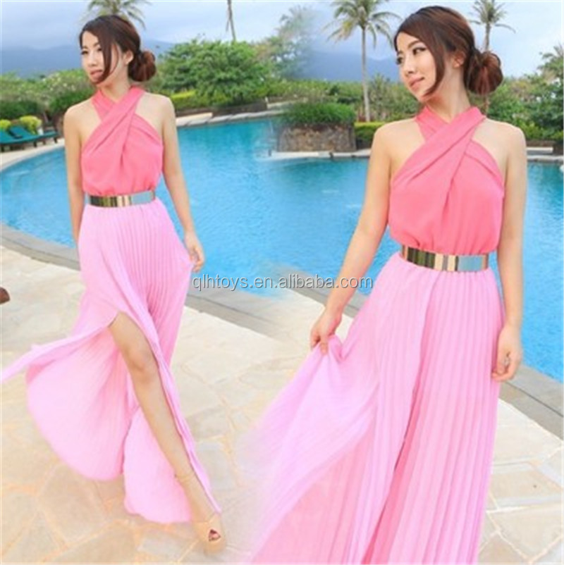 2018 New Design Hot Selling Beach Dress Europe Long Skirt Hanging Neck Fashion Women Sleeveless Pink Sexy Dress