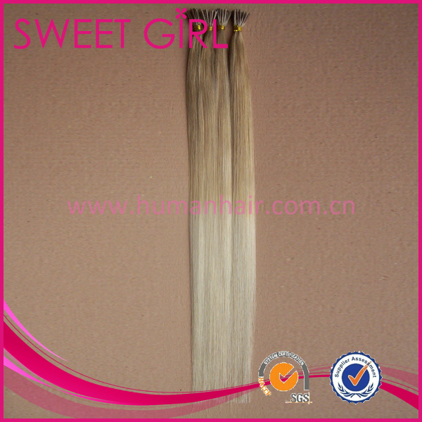 Ombre color 18/613 stick I-tip virgin Peruvian hair extension