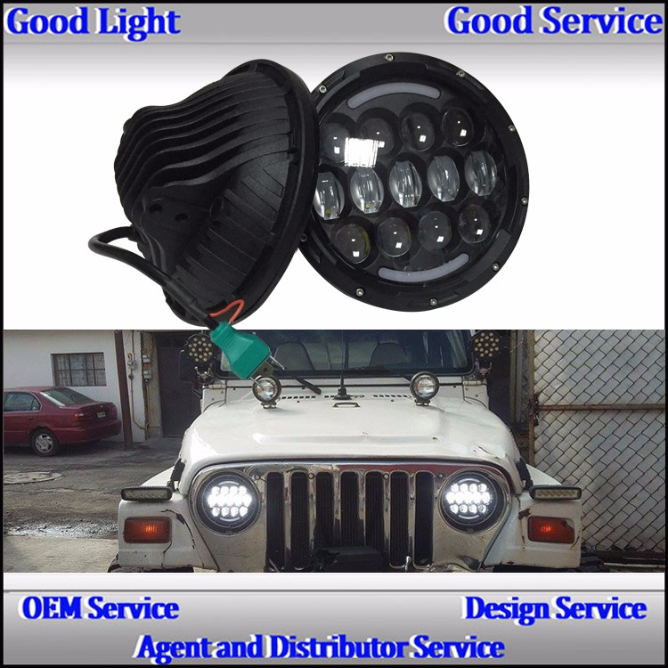 2016 factory price 7 inch dot high low beam 85W offroad led head light for J-eep parts Auto car accessories