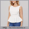 Wholesale Guangzhou Clothes Manufacturer Round Neck Ruffle Waist bowknot Back Sexy Ladies Halterneck Tank Top