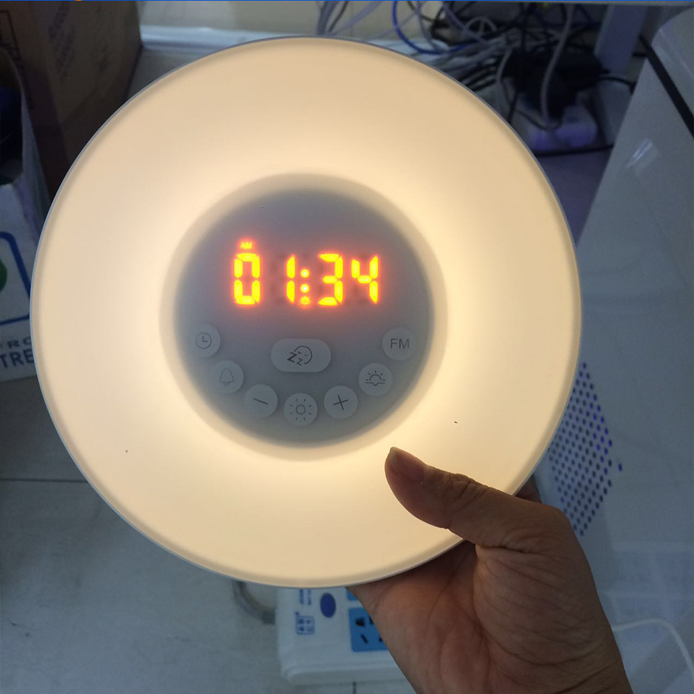glowing led color change digital sunrise wake up light alarm clock