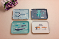 Hot-sell Bamboo Fiber Food Serving Tray with print