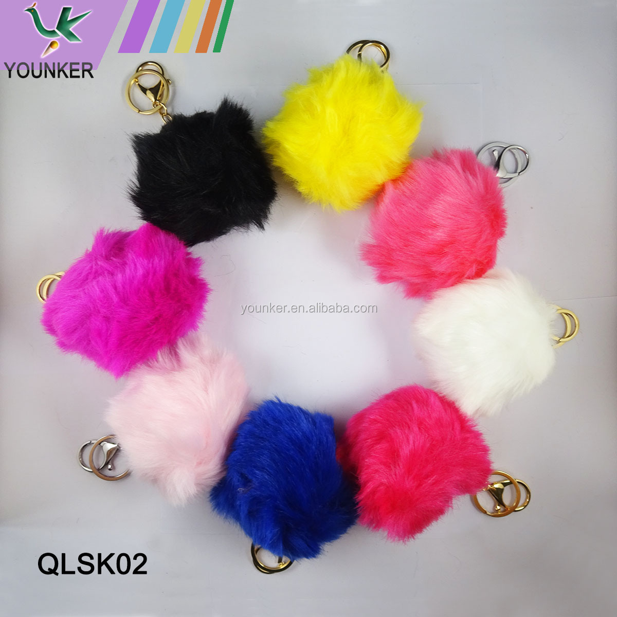 New Design Wholesale Faux Rabbit Fur Ever Pom-Pom Keychain