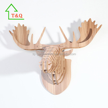 Wooden Moose Trophy Animal Head 3D Wall Art Decoration- Home Decor Wall Hanging