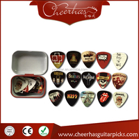 30pcs Rock Bands Guitar Picks Plectrums + 1 Metal Guitar Picks Box Case