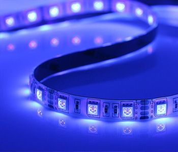 UV(390nm-400nm) color LED strip 5050 SMD 12V flexible light 60LED/m,5m 300LED;waterproof by silicon coating;IP65;white pcb