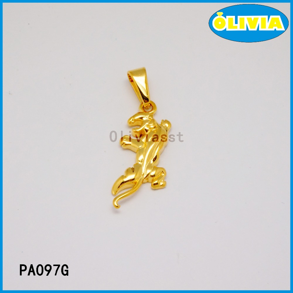 Olivia gold plate pendant with hip-pop style gold tiger shape animal pendant charm for men