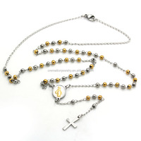 2015 Top Selling Stainless Steel Catholic Saint Virgin Mary Maria Oval Miraculous Medal Pendant 3MM Rosary Beads Chains Necklace