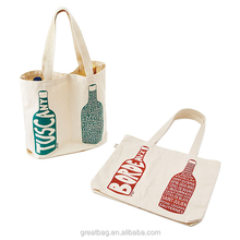 Promotional Two Wine Bottle Natural Cotton Canvas Tote Bag