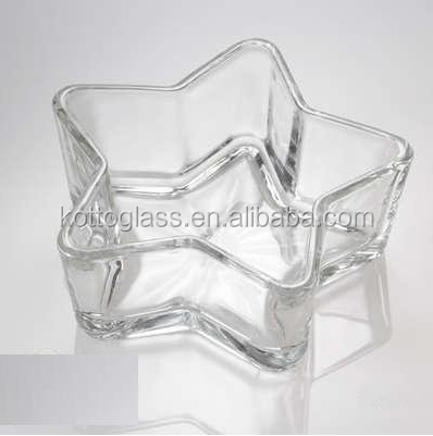 Star shaped glass candle holder wedding glass candle bowl
