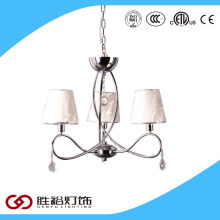 Top sales high quality polish chrome fabric cover modern crystal chandelier lighting pendant light with UL