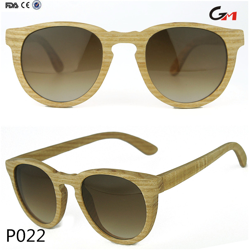 cat eye uv400 sunglasses vintage polarized gradient lens natural white wax wood custom logo made sunglasses