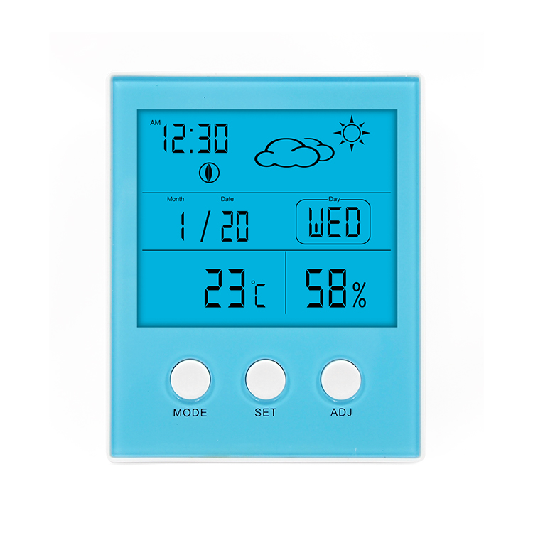China 2018 digital weather indication thermo hygrometer and clock