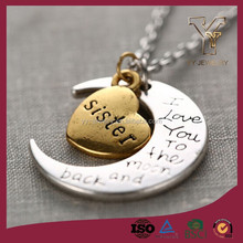 """Sister I Love You To The Moon and Back"" Gold Flashed Heart Pendant Necklace"