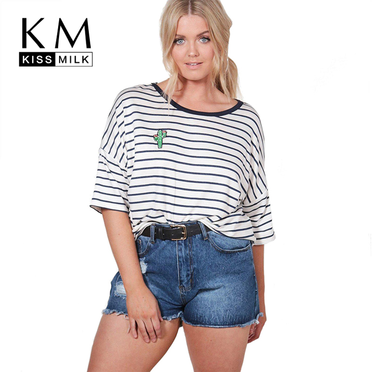 Kissmilk Plus Size Women Clothing Preppy Style <strong>O</strong>-neck Half Sleeve Tees Stripes Simple Soft Casual Big Size T-shirt for Wholesale