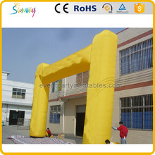 Yellow inflatable H entrance arch gate pillar designs for advertising