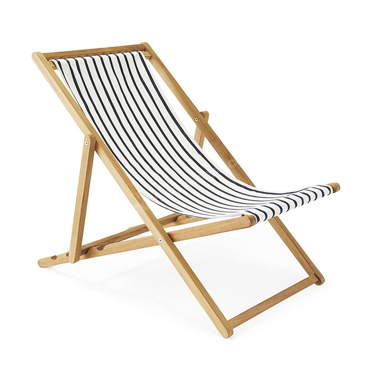 Factory selling wood and fabric comfortable wooden beach chair