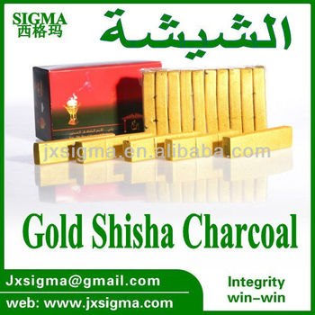 smokeless silver/golden charcoal for shisha