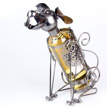 Mettle High Quality Dog Shape Metal Craft Accommodate One Bottle Metal Wine Rack Bottle Holder For Home Decoration