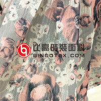 ITY printed floral waved organza fabric for women's dress