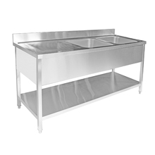 Industrial Medical Commercial Stainless Steel Double Kitchen Sinks With Workbench