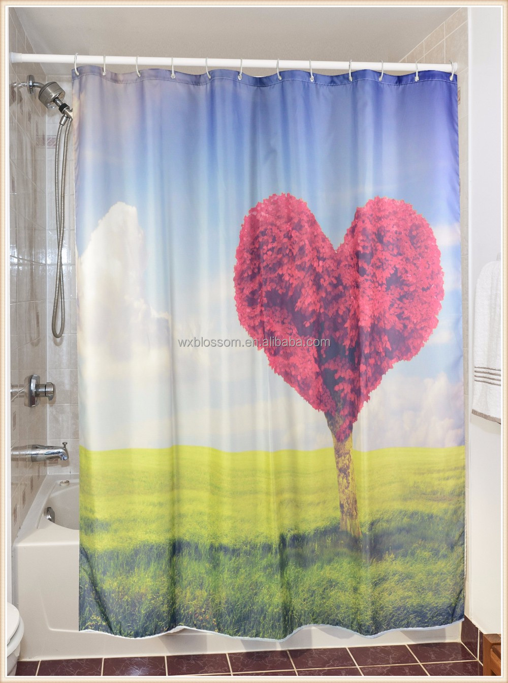 New design digital printing one direction shower curtain
