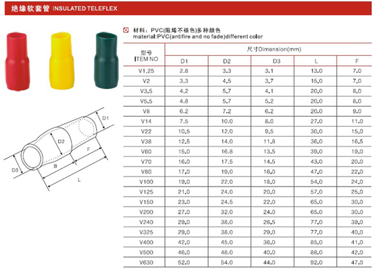 T34-plastic teleflex(V)connector V insulated teleflex crimp terminal/crimp terminal connector PVC tube INSULATED TELEFLEX