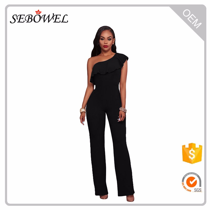 2017 One Shoulder Ruffle Sexy Jumpsuit Women