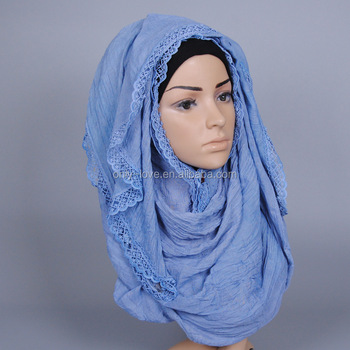 Small lace plain cotton solid color shawls headband popular muslim hijab scarves/ long scarf GBS360