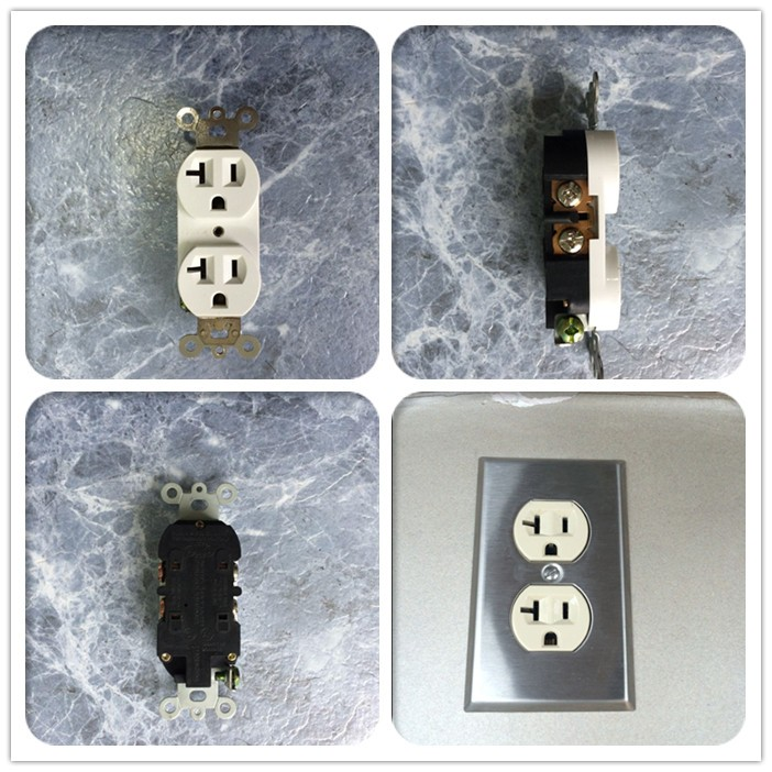 ETL certificate 20A 125V Duplex Receptacle Wall Socket PC Cover