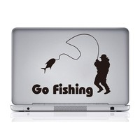 Colorcasa new products Vinyl car sticker removeable car decal go fishing waterproof car sticker(ZY416)