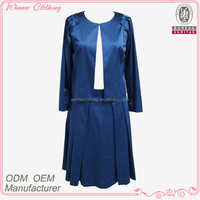 high quality satin ladies skirt suits with sleeve and pleats