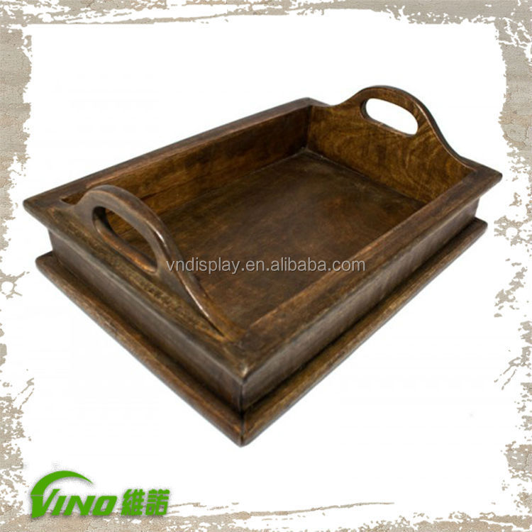 Old-Style Wood Tray Display Case wood portable jewelry display cases cosmetic display case