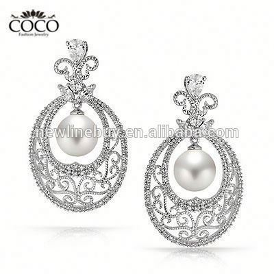 Vintage Pearl Earrings White Gold Plated Cubic Zirconia Dangle Earring For Women Luxury Wedding Ethnic Style Hollow Out Jewelry
