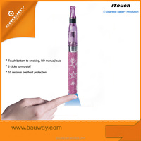 Bauway e cigarette finger skin touch battery,automatic ego battery,wholesale ego battery