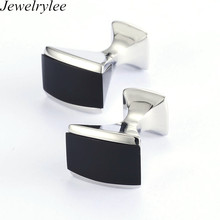 OEM Good Quality Brass Metal Black Cufflink Blank For Sales Rectangle Shape