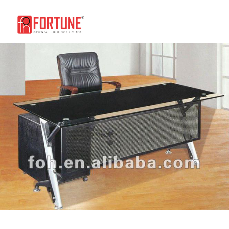 Modern glass top office table design(FOHYTJ-8059)