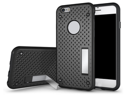 Shockproof heat dissipation Function Back Stand Case with Polka Dot Mesh PC+TPU Rubber Cover Case for iPhone 6 6s 6plus