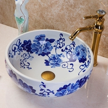 Chinese style excellent quality blue and white porcelain double vessel sink for decor