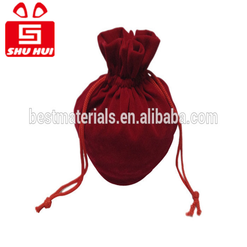 Knitted wine gift bag folding pouch bags for jewelry recycled velvet fabric drawstring bag