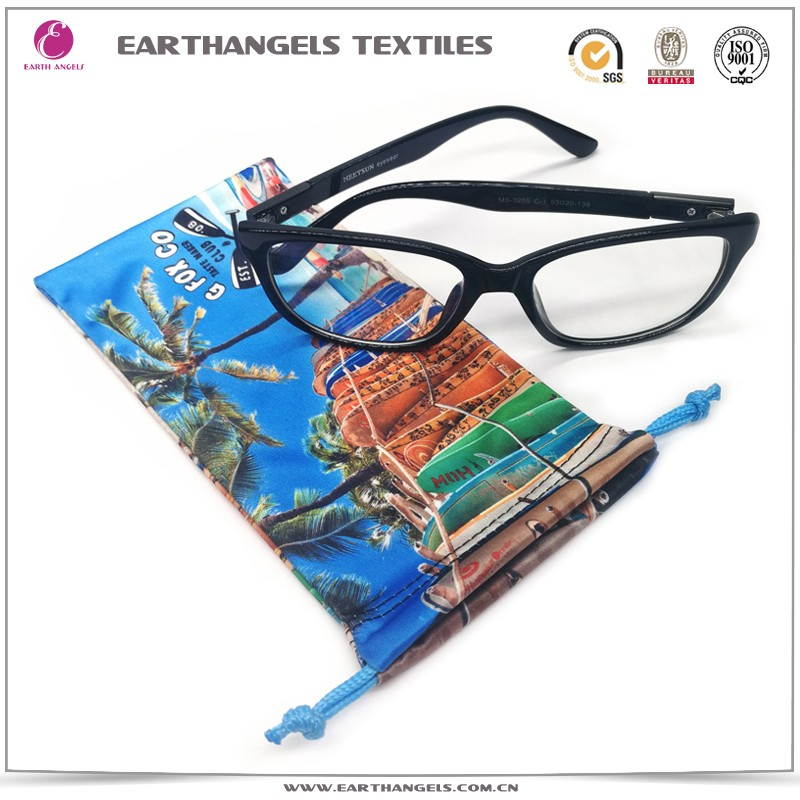 Custom Heat Transfer Print Microfiber Eyeglasses/Glasses/Sunglases Drawstring Soft Bags