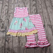 New Style Girls outfits pink stripes with flowers designs dress wholesale clothing paypal
