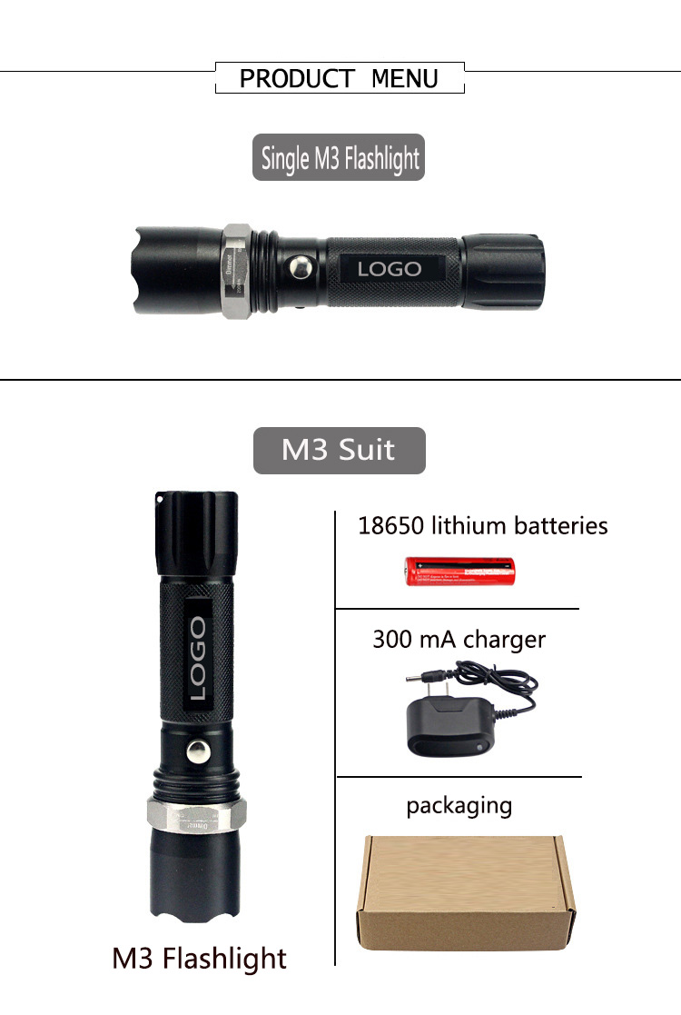 Wholesale 18650 ma Rechargeable Long Range LED Tactical Flashlights
