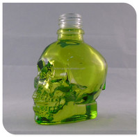 60 ml clear green fragrance oil skull glass perfume bottle with screw cap and dropper
