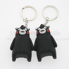 Kumamon key ring cartoon character keychains 3D custom design promotional gifts pvc soft rubber couple key chain