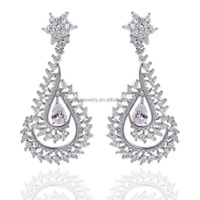 2015 Plants Leaf Design Crystal Earring Stylish Diamond Drop Earrings